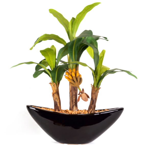 Artificial Small Banana Bonsai Plant With Ceramic Pot