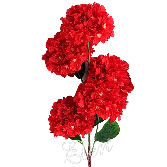 Artificial Red Hydrangea Single Stem Flower for Home Decor
