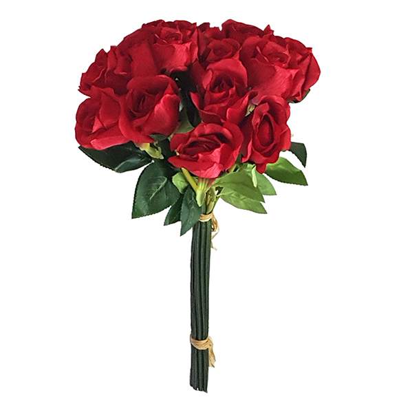 12 Head Artificial Red Rose Flower Bunch For Decoration