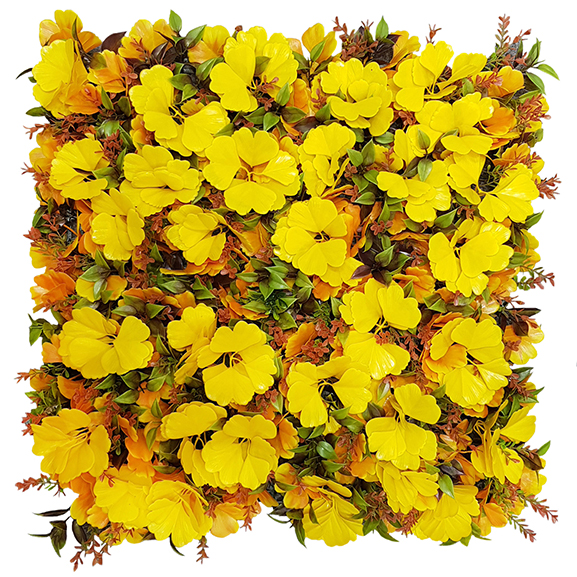 UV Protected Artificial Vertical Garden with Yellow Leaves (50X50 cm)