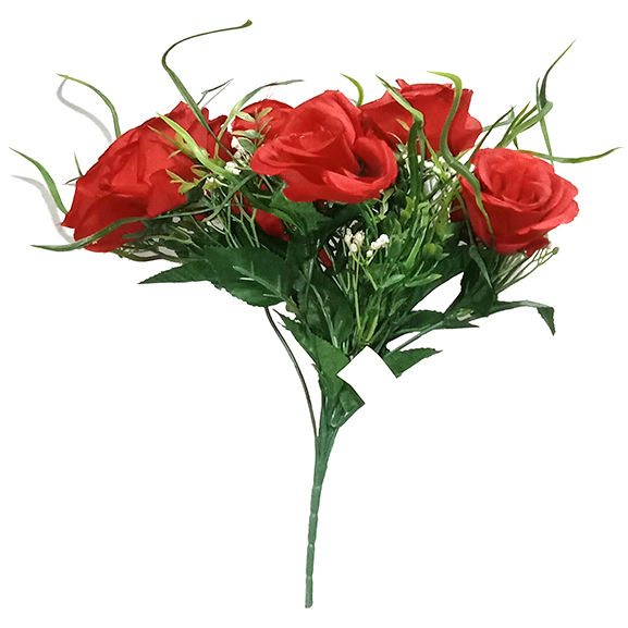 Artificial Red Rose Flower With 12 Head For Decoration