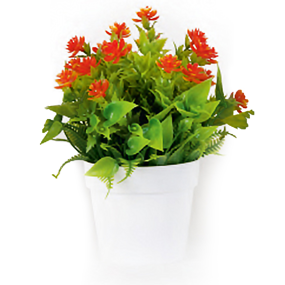 Artificial Rose Bonsai Plant in White Pot