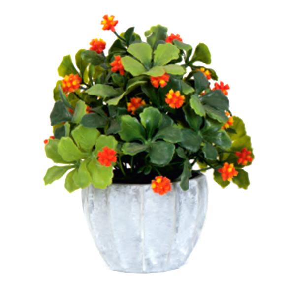 Artificial Moti Flower Bonsai Plant in Grey Pot