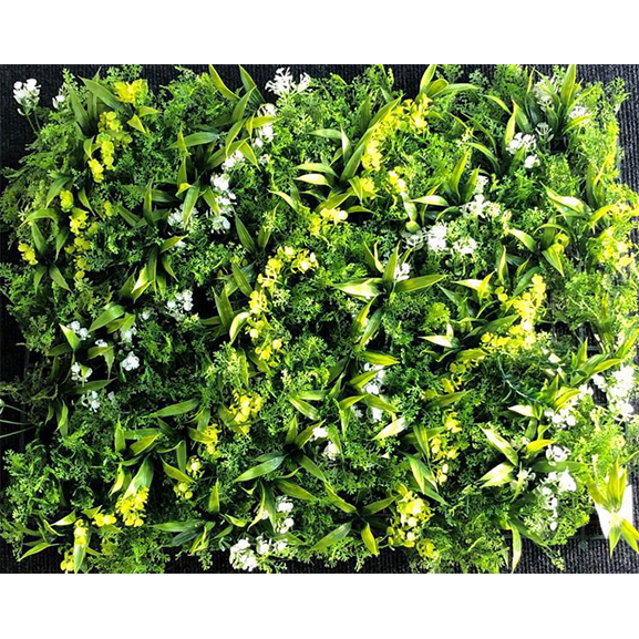 Non UV Artificial Vertical Garden Mat With Green Leaves and White Flowers (40X60 cm)
