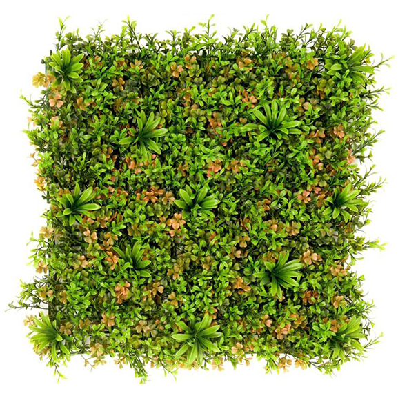 UV Coated Artificial Vertical Garden Mat Mixed with Green Leaves and Flower (50X50 cm)at (50X50 cm)
