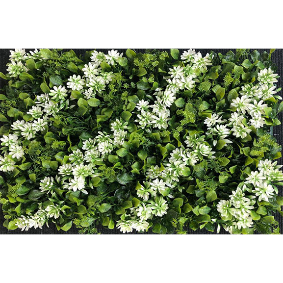 Non UV Artificial Vertical Garden Mat with Green Leaves and Diagonal White Flowers (40 X 60 cm)