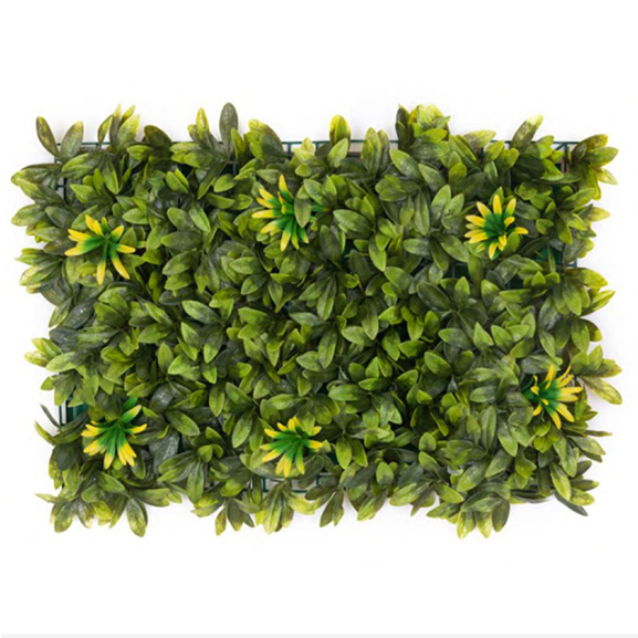 Non UV Artificial Vertical Garden Mat Mixed with Green Leaves and Sunflower (40X60 cm)