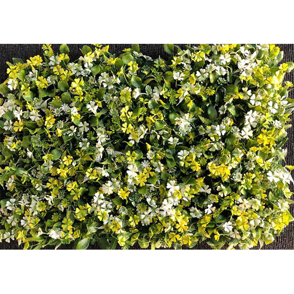Non UV Artificial Green Vertical Garden Mat Mixed with Yellow and White Flowers (40 X 60 cm)