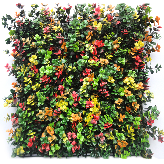 UV Coated Artificial Vertical Garden Wall Mat with Multi color Leaves (50 X 50 cm)