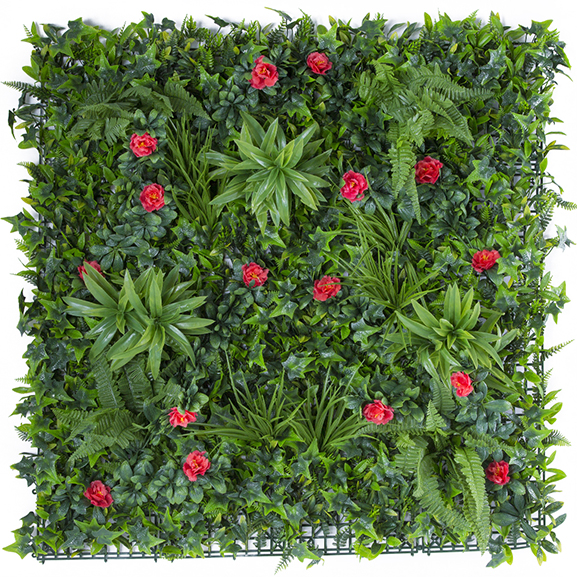 UV Protected Artificial Vertical Garden Mat Mixed with Green Leaves and Red Flowers for Home Decor ( 100 X 100 cm)