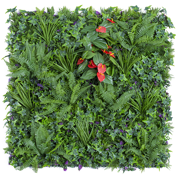 UV Coated Artificial Vertical Garden Mat with Green Leaves(100 X 100 cm)