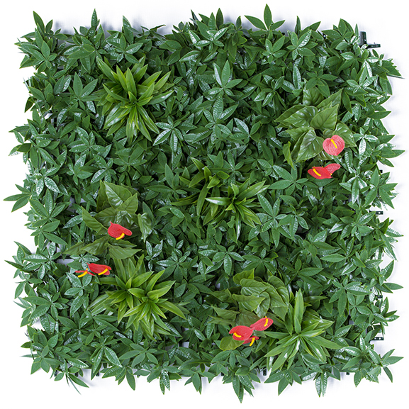 UV Coated Artificial Vertical Garden Mat with Green Leaves and Pink Flowers (100 X 100 cm)