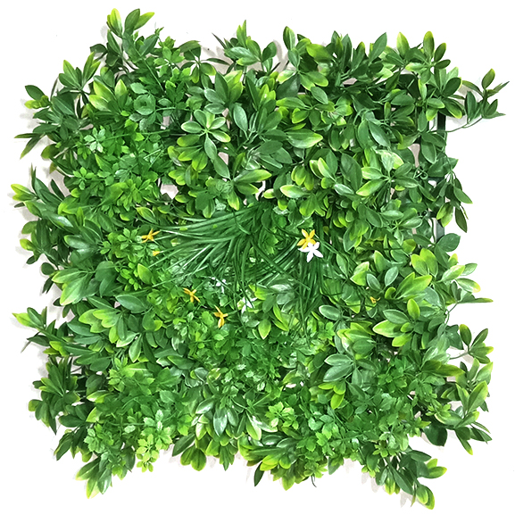 UV Coated Artificial Vertical Garden Mat with Mixed Green Leaves(50 X 50 cm)