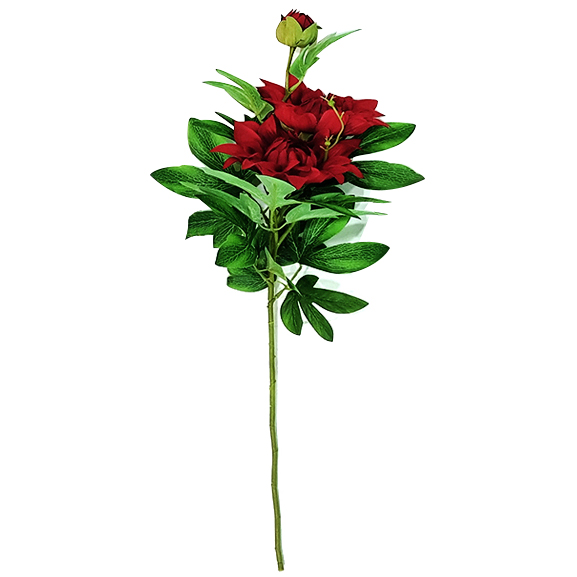 Artificial Red Rose Flower Single Stem For Decor