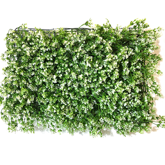 Non UV Artificial Green Leaves Vertical Garden Mat with Green and White shade (40 X 60 cm)