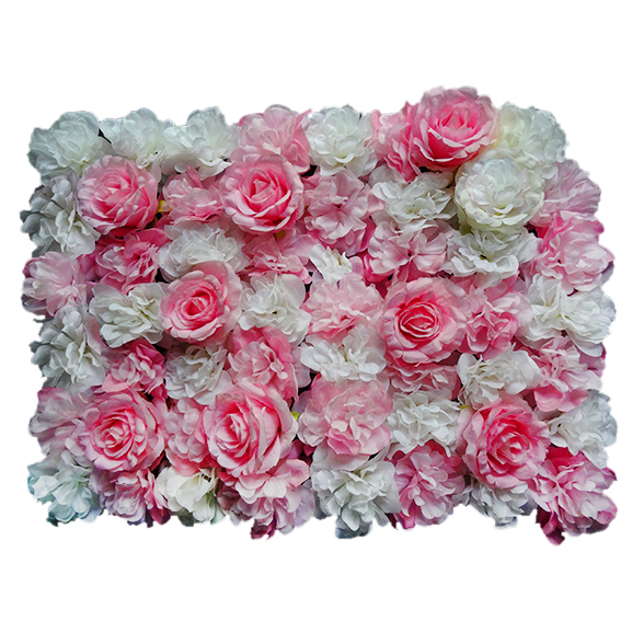 Non UV Artificial Vertical Garden Mat with White and Pink Rose Flowers for Indoor Decoration (40 X 60 cm)