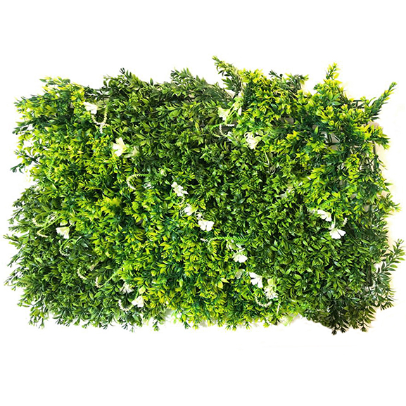 Non UV Artificial Vertical Garden Mat with Green Leaves and White flower (40X60 cm)