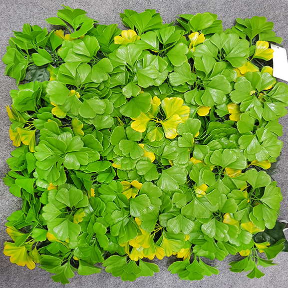 UV Coated Artificial Vertical Garden Mat with Green and Yellow Leaves (50 X 50 cm)