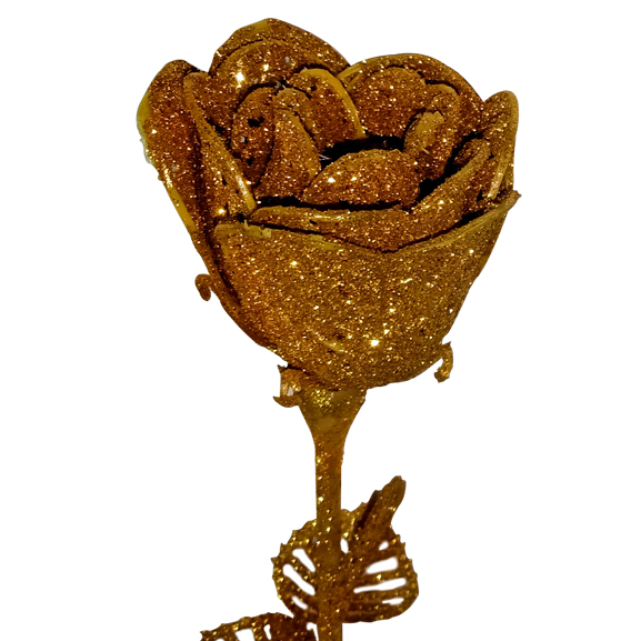 Artificial Golden Rose Flower Dry Single Stick