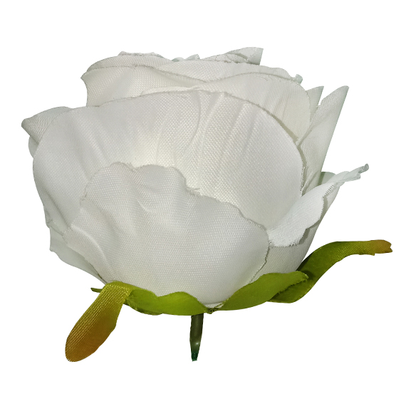 Artificial White Rose Flower Head For Decoration