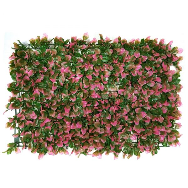 Non UV Artificial Vertical Garden Mat with Pink Leaves (40 X 60 cm)