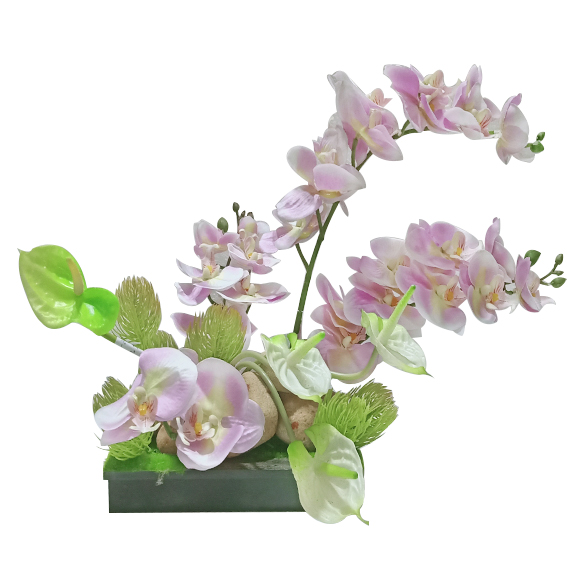 Artificial Orchid and Anthurium Flower Arrangement with Wooden Base