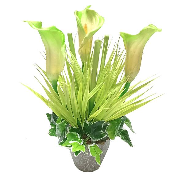 Artificial Calla Lily Flower Arrangement with Pot for Decor