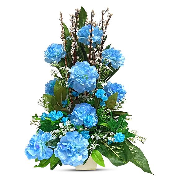 Artificial Blue Peony Arrangement with Pot
