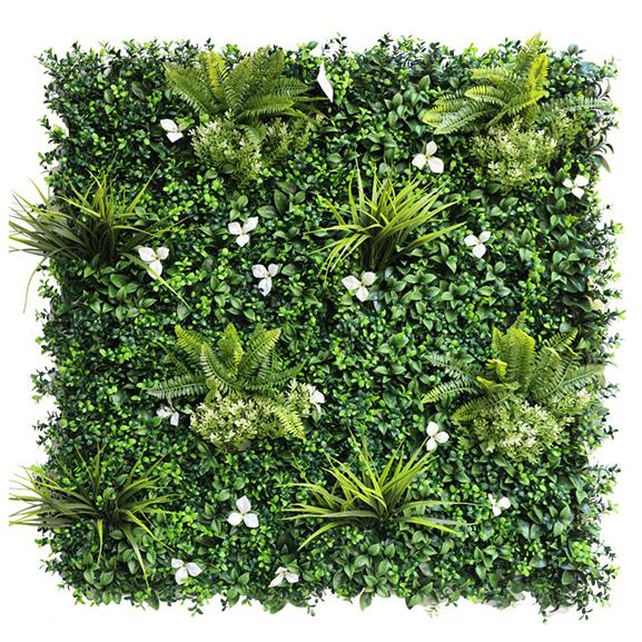 UV Artificial Vertical Garden Mat Mixed with Green leaves
